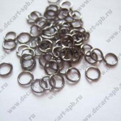 Кольцо для бус 5мм черный никель 25шт