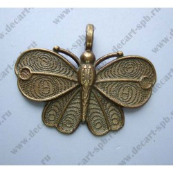 "Подвеска ""бабочка "" 32х42мм цвет - бронза"