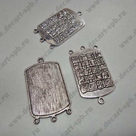 "Подвеска-коннектор""Майя"" жетон 29х53 мм ант серебро"
