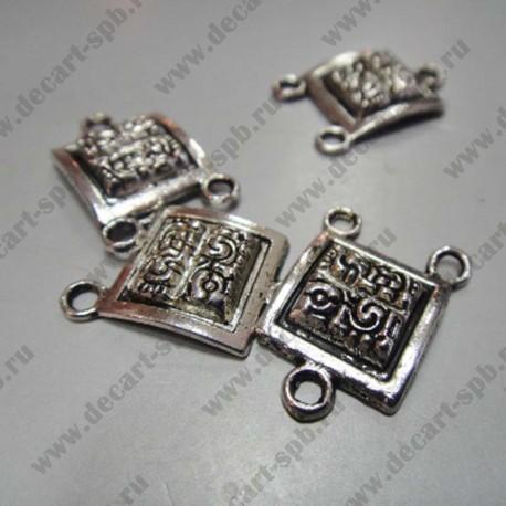 """Подвеска-коннектор""""Майя"""" 2 нити 12х19 мм ант серебро"""