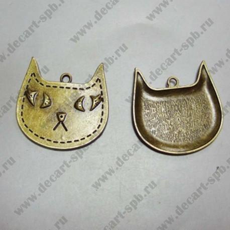 """Подвеска """"кот"""" 39х39 мм бронза"""