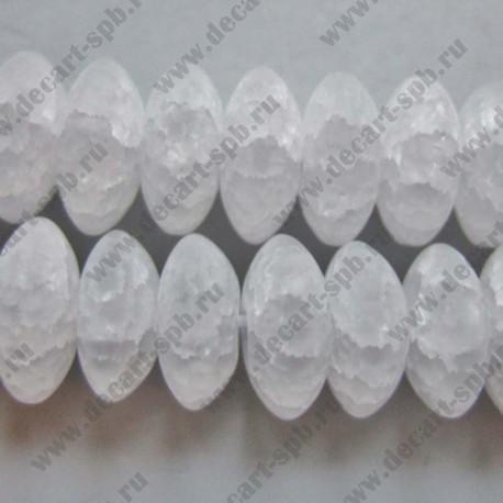 Бусина морозный кварц рондель 4х10мм белый матовый (имитация кварца)