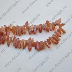 Бусина кварц кристал карамелька АВ длина 1,2-1,9 см