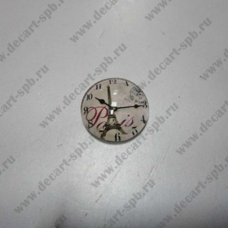 """Кабошон стеклянный """"Часы Париж""""15мм круг"""
