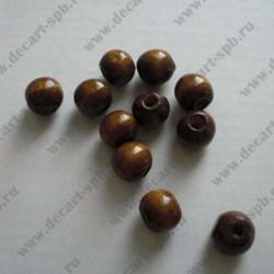 Бусины деревянные 10мм коричневый (10шт)