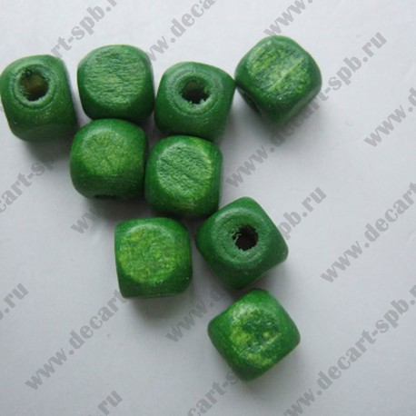 "Бусина деревянная ""кубик"" 8х8мм зеленый"