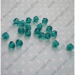 Бусина стеклянный кристалл биконус 4мм голубой циркон